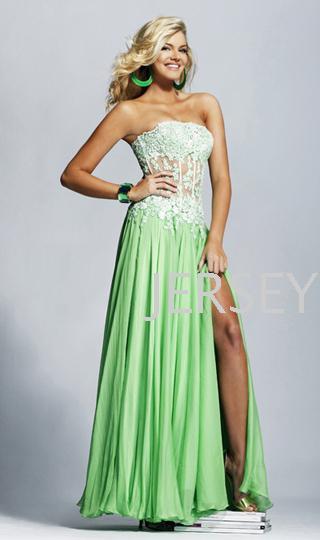 Livraison gratuite 2016 longueur de plancher formelle Sexy dentelle verte appliques nouveau design longue fête robe de bal en mousseline de soie robes de soirée