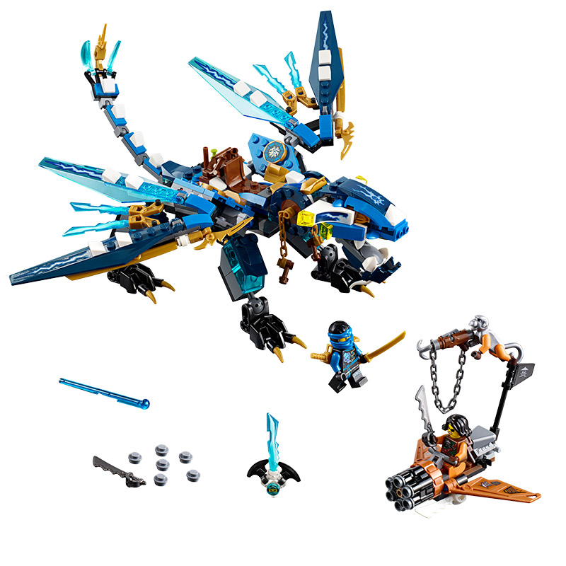 Toys for children CHINA BRAND 06027 self-locking bricks Compatible with Lego Ninjago Jay' Elemental Dragon 70602 no original box