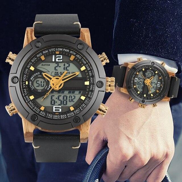 LED Digital Watch Men Wood Wristwatch Fashion Multi-function Quartz Digital Display Date Leather Military Sport Wooden Relogio 4