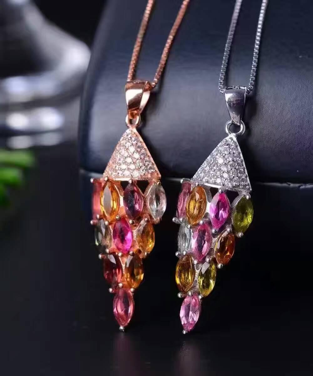 Здесь продается  natural multicolor tourmaline pendant S925 silver Natural gemstone Pendant Necklace trendy Slender awl women wedding jewelry  Ювелирные изделия и часы