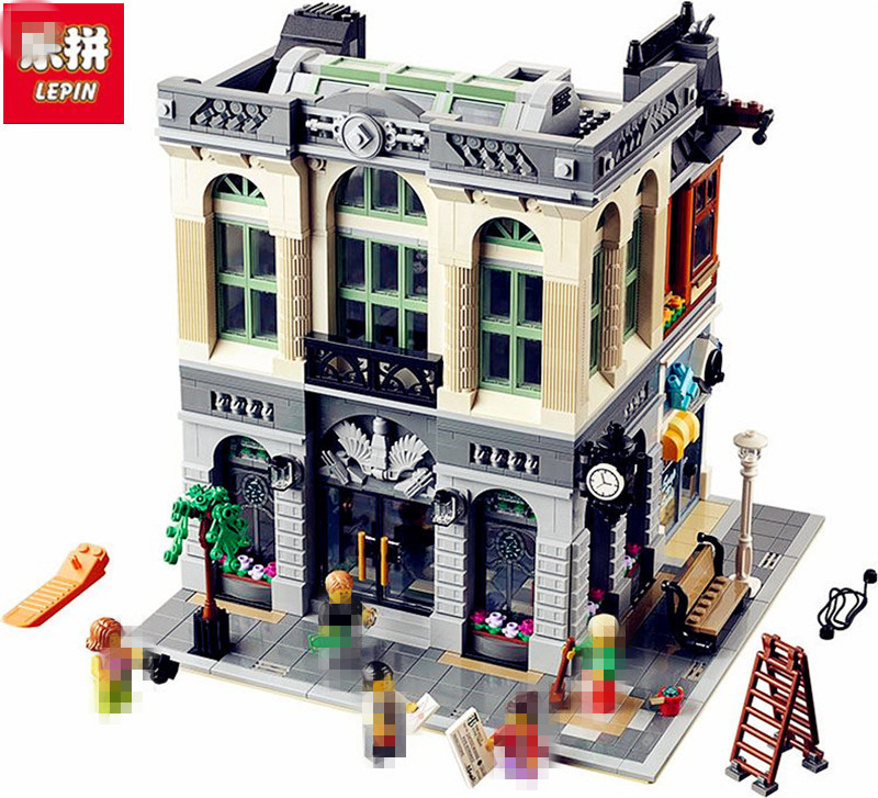 IN STOCK New LEPIN 15001 2413Pcs Brick Bank Model Educational Building Kids Blocks Bricks Toy Compatible With 10251 Gift new city scene mini street bank restaurant building blocks toys brinquedos kids educational gift toy compatible with lepin