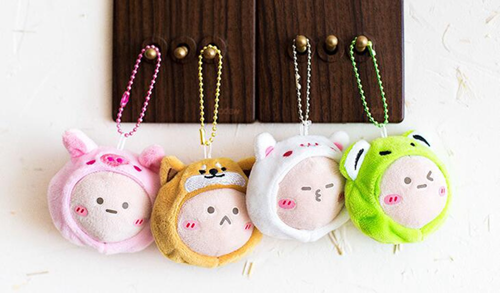 Cute Plush Animal Keychain Pendant Lovely Rabbit Frog Anime Accessory