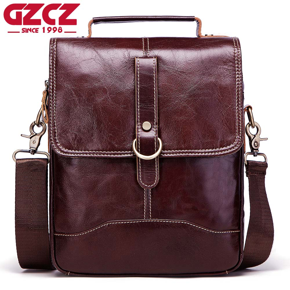 купить GZCZ Brand Men Fashion Genuine Leather Crossbody Bag Top Quality Men's Shoulder Bag Business Cow Messenger Bag Casual Man Bags по цене 4644.23 рублей