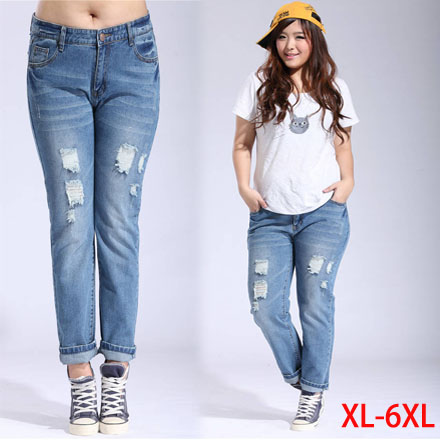 bd3cb33aa19952 2015 top New fashion 6XL plus size Mid Waist casual korean washed Blue hole ripped  jeans Denim baggy boyfriend pants for women