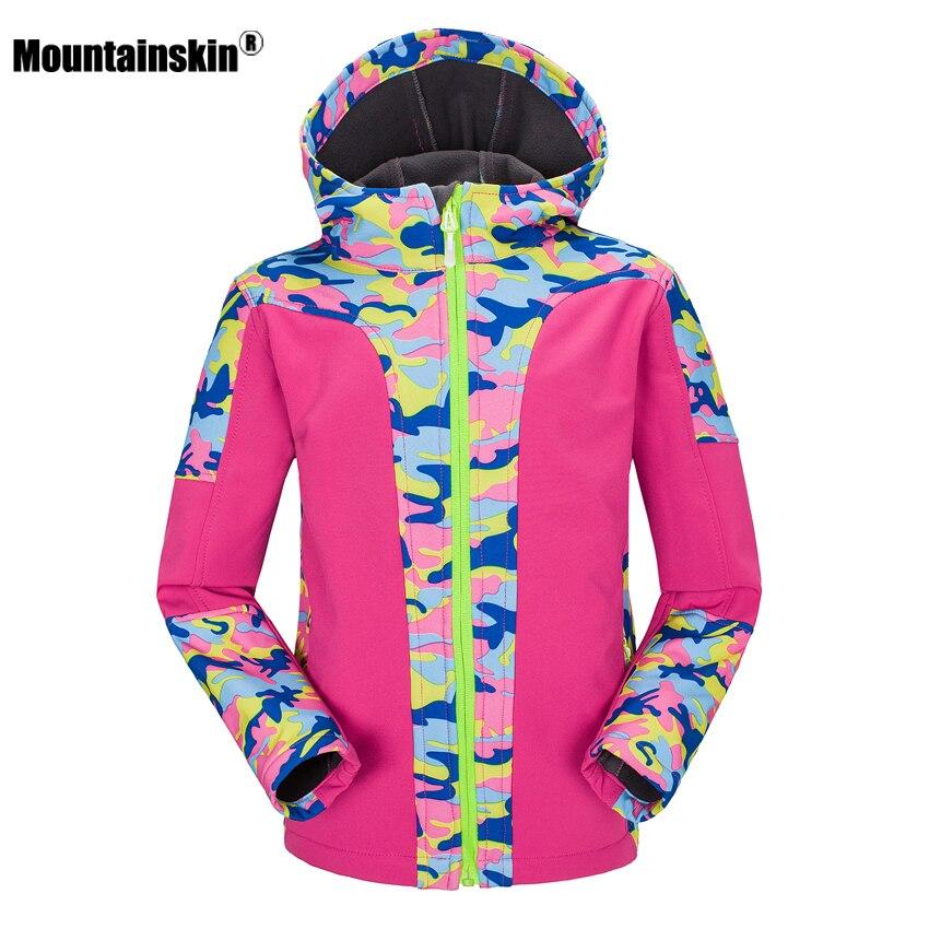 Children Winter Fleece Softshell Jackets Kids Waterproof Thermal Coat Outdoor Girl Boy Camping Hiking Trekking Windbreaker VC011