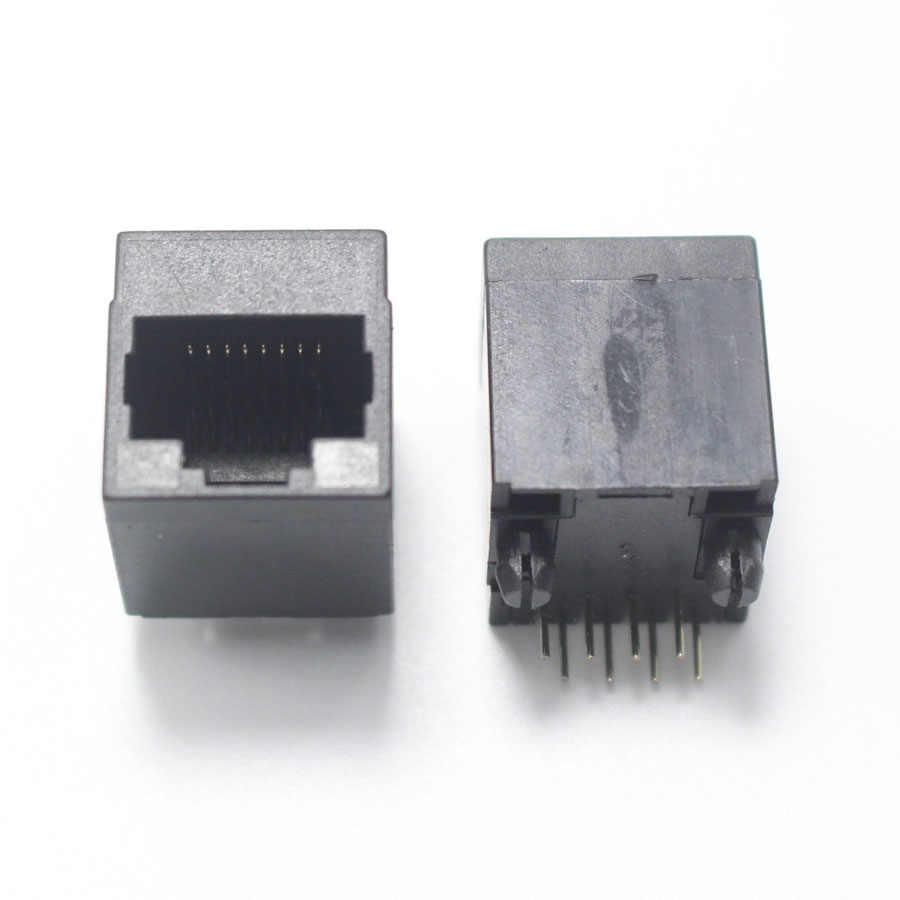 2 pcs RJ45 Rede jack 8P8C 1 P 2 P 4 P Modular Rede PCB Jack 8 P Vertical LAN DIP adaptador de Conector de Metal Plástico