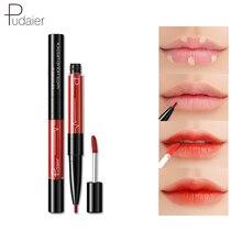 Pudaier 2 In1 Matte Lip Gloss Liner Maquiagem Profissional Velvet Lasting Red Tint Plumper Tattoo Makeup Liquid Lipstick