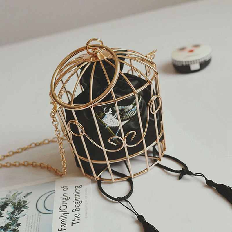 Personality Bird Cage Women Handbag Tote Metal Cage Girls Top-Handle Bags Coin Purse Fashion Party Pouch Tassel Clutch Black