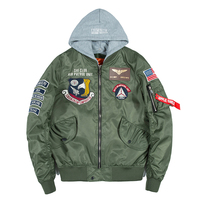 Bomber Jacket Men Badge Air Pilot Hooded Thin MA 1 Men's Jacket Hip Hop Fashion Outwear Men Coat Bomb Baseball Jackets