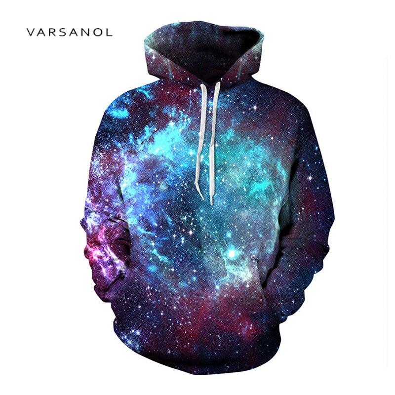 VARSANOL Printing Sweatshirts Hooded Galaxy Star Hoody Tops