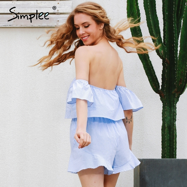 Simplee Sexy off shoulder elegant jumpsuit romper Women summer 2017 beach backless overalls Ruffle flare sleeve women playsuit