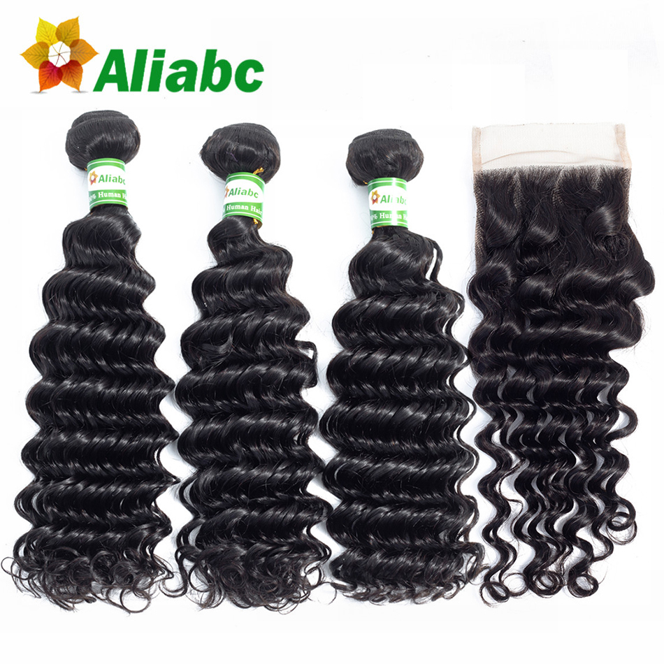Aliabc Brazilian Deep Wave Human Hair Weave 3 Bundles With 4X4 Lace Closure Natural Color Non remy Hair Extensions Free Shipping-in 3/4 Bundles with Closure from Hair Extensions & Wigs    1