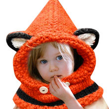 1-7 Years Baby Girls Hats Handmade Kids Winter Hats Wrap Fox Scarf Caps Cute Autumn Children Wool Knitted Hats Drop shipping(China)