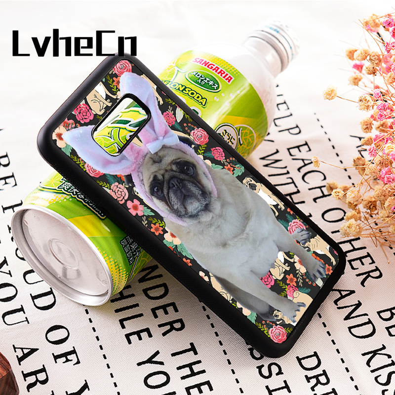 LvheCn s3 s4 s5 Note 3 4 5 7 8 phone cover cases for Samsung Galaxy s6 s7 s8 s9 edge plus CUTE PUG DOG PUPPY DOGGY ANIMAL