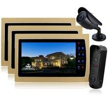 Homefong  Video Door Phone Intercom 10″ LCD Color Doorbell Intercom Kit 1 Camera 3 Monitor DHL Dropshipping Wholesale Doorphone