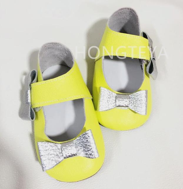 De alta calidad de la Nueva manera del arco 100% zapatos de Bebé de Cuero Genuino Mocasines Chaussure Bebe suaves únicos Zapatos de Bebé Primeros Caminante zapatos recién nacidos