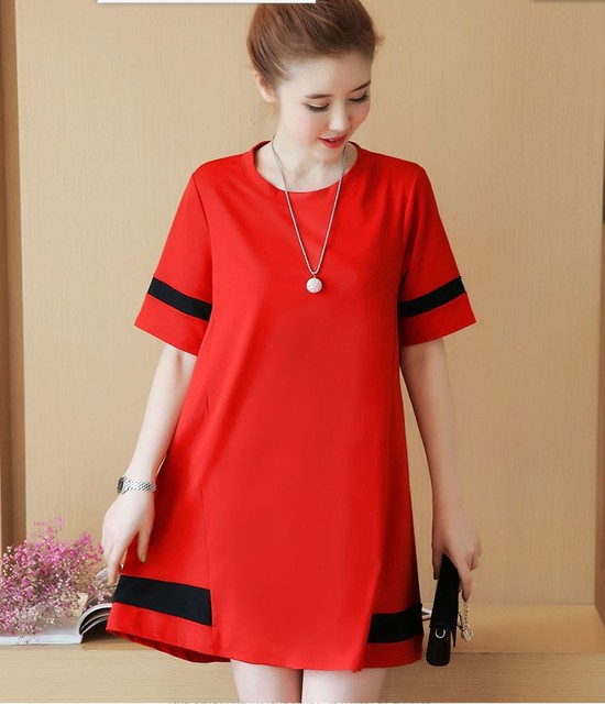 f50c366069f8 2017 New arrival girls casual black red dresses women s fashion summer  sleeve slim sexy loose dress elegant school girls  L228