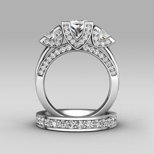 Victoria Wieck corte princesa tres piedras 8ct topacio diamante simulado 925 mujeres Engagement Wedding Band set anillo