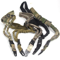 Tactical Hunting Single One Point Rifle Sling Paintball Military Adjustable Bungee Cord Gun Strap System CP