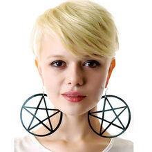 Night Club Cool Sexy Punk Rock Round Large Long Big Black Pentagram Earring Jeffree Star Cool Dangle Drops Earrings Dropshipping(China)