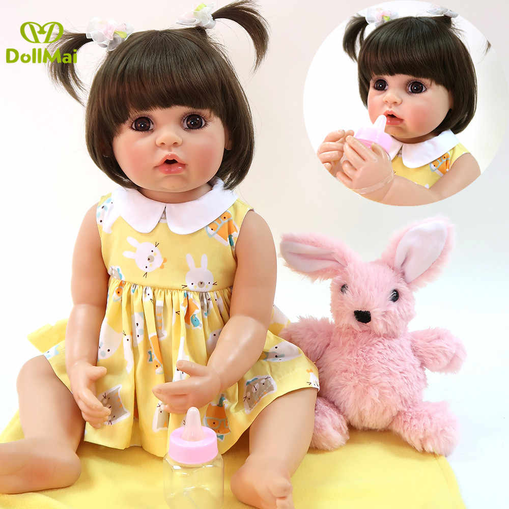 DollMai Full vinyl silicone reborn baby girl doll 22inch 56cm real baby toddler doll Exclusive model bebes reborn menina bonecas
