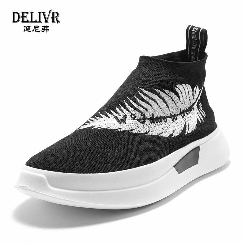 Delivr 2019 nouvelles chaussures de sport pour hommes baskets légères Masculino Esportivo volant tricot hommes baskets appartements maille sans lacet