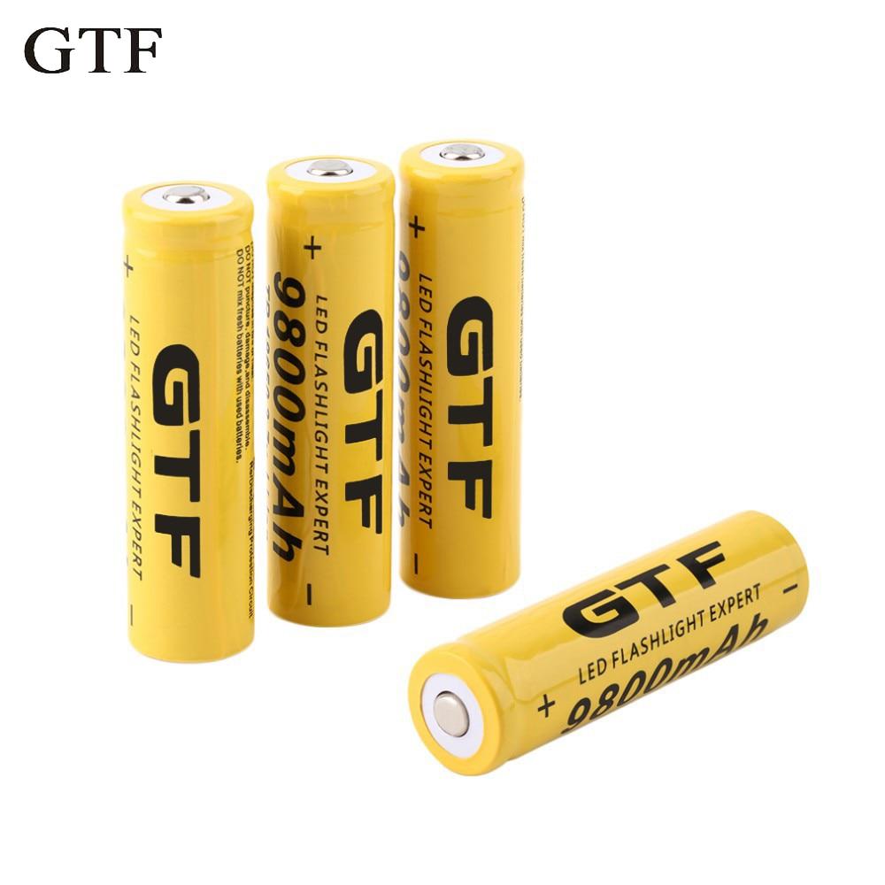 GTF-batería recargable de iones de litio para linterna, acumulador de antorcha, 3,7 V, 18650, 9800mAh, 18650