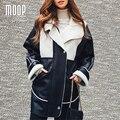 Американский стиль черный PU кожаные куртки пальто толстые lambwool флис подкладке кожаные длинные пальто весте ан cuir femme LT1124