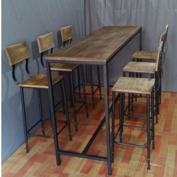 American Vintage Wood Bar Tables And Chairs Wrought Iron