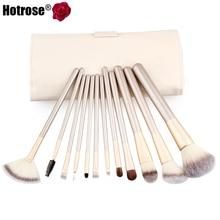 Hotrose 12 pcs Makeup Brushes Professional Synthetic Cosmetic Makeup Brush Foundation Eyeshadow Eyeliner Brushing Brush Kits