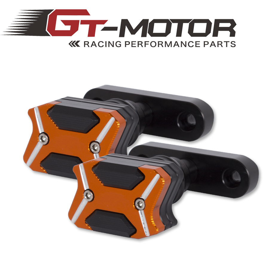 GT Motor- 2017 NEW CNC Aluminum  Left and Right Motorcycle Frame Slider Anti Crash pads Protector For  KTM DUKE RC 125 250 390 2017 new knight protection gxt flip up motorcycle helmet g902 undrape face motorbike helmets made of abs and anti fogging lens