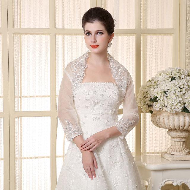 Elegante mais recente branco de três Quater mangas Tulle Wedding Bolero frisada Appliqued do casamento Jacket envoltório nupcial xaile W-41