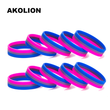 Гей Гордость бисексуальные силиконовые резиновые браслеты спортивные браслеты SLP0002
