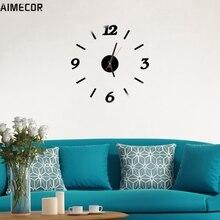 Wall Clocks Aimecor Happy Gifts High Quality Three Colors Modern Wall Clock Living Room DIY 3D Home Decoration Mirror Art Design