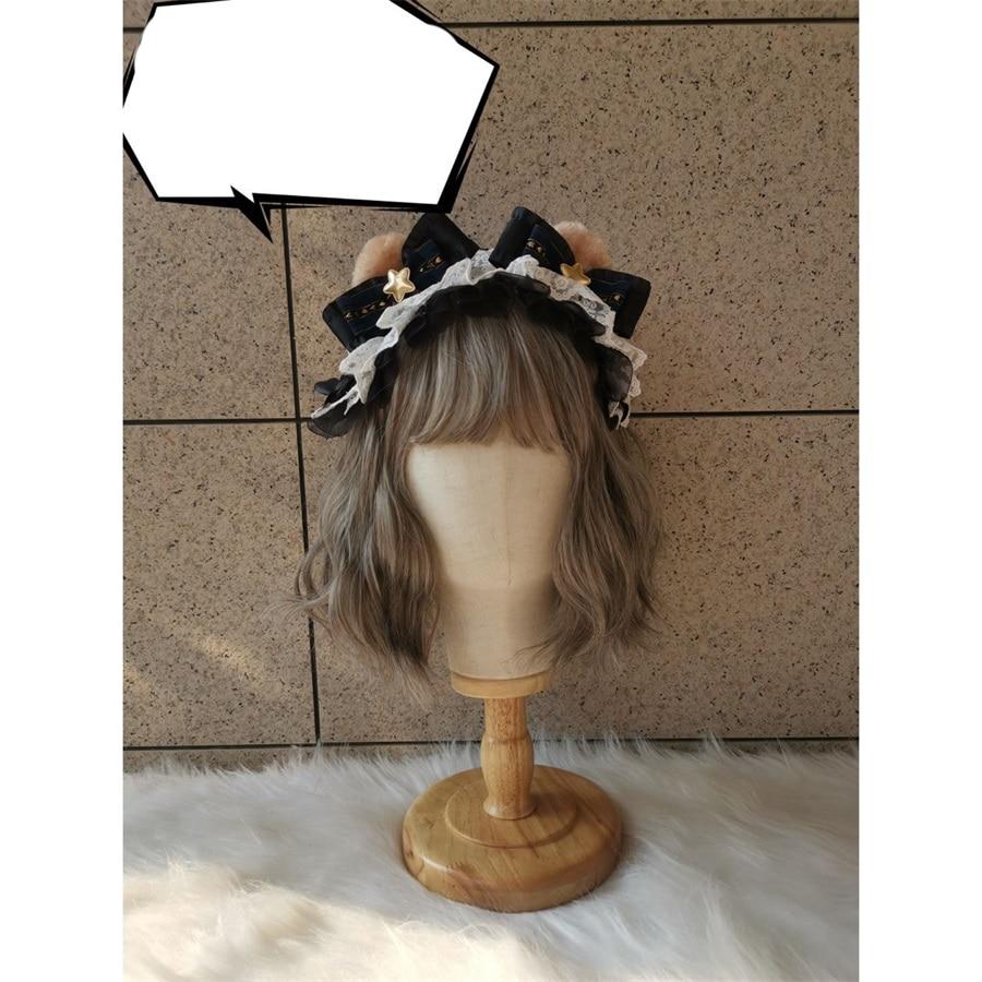 Handmade Sweet Lolita Cute Plush Bear Ears Bow Lace Hair band Cosplay Maid Accessories Kawaii Women's Headband Hairpin