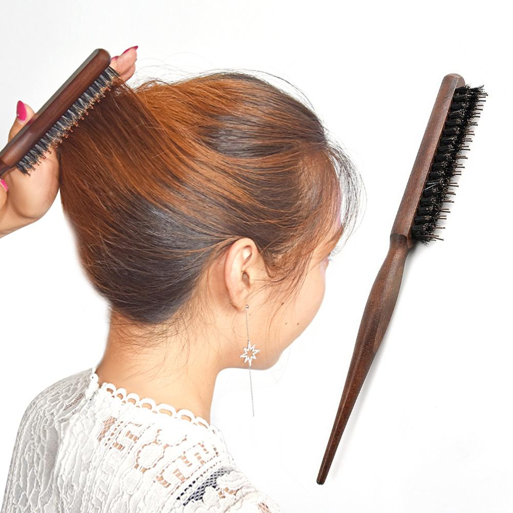Professional Three Rows Wooden Handle Salon Comb Hair Teasing Bristle Brush