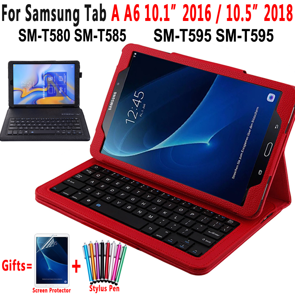 Bluetooth Keyboard Leather Case For Samsung Galaxy Tab A A6 10.1 2016 10.5 2018 T580 T585 T590 T595 SM-T580 SM-T585 Cover Funda