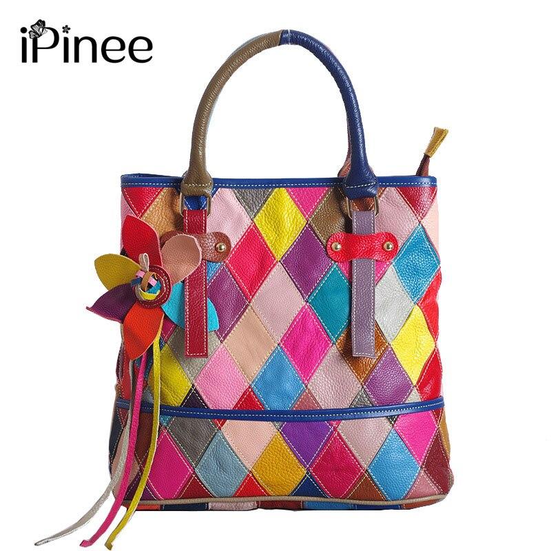 iPinee brand handbag women genuine leather bag female hobos shoulder bags high quality colorfully flower tote