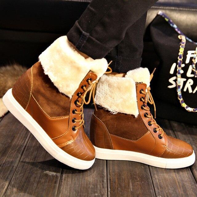 Бренд Зимой Толстые Красные Сапоги Мода Снегоступы Для Женщин Меха обувь Ботильоны Девушки Туфли На Платформе Квартир Женщин Плюс Размер 40