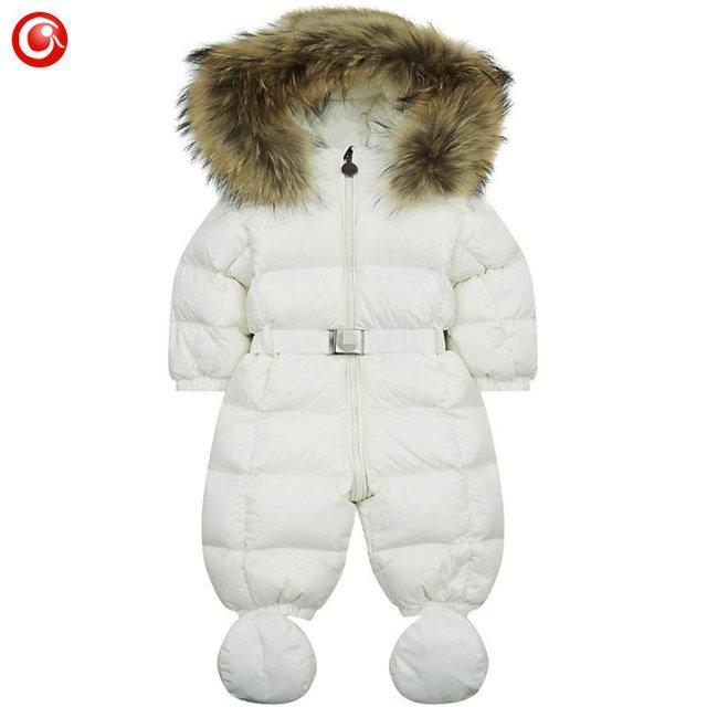 6 M-3 T Meninas de Inverno das Crianças Para Baixo Meninos Romper Do Bebê Com Capuz Grosso Macacão + Luvas Quentes Infantil Outwear Roupas Para O Natal