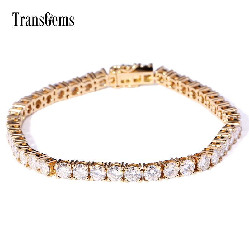 Transgems 12 6 Ctw F Color Lab Grown Moissanite Diamond Tennis Chain Bracelets Solid 14k Gold For Women Link Brace Lace In Bangles From Jewelry