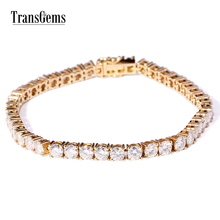 TransGems 12.6 CTW F Colorless Moissanite Tennis Chain Bracelet in 14K Yellow Gold for Women Lab Diamond Link Brace Lace