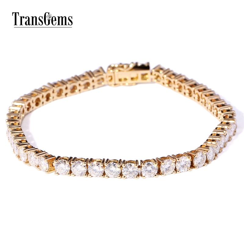 TransGems Solid 14K Yellow Gold 12.6 CTW 4mm Diameter F Color Moissanite Tennis Bracelets for Women Wedding Link Bracelets