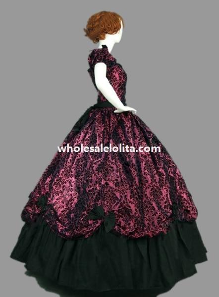 Платье в викторианском стиле из парчи и хлопка