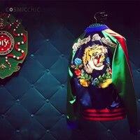 Для женщин Курточка бомбер пальто Реверсивный Бейсбол куртки Sukajan Винтаж голова тигра вышитые зима пилоты верхняя одежда LY288