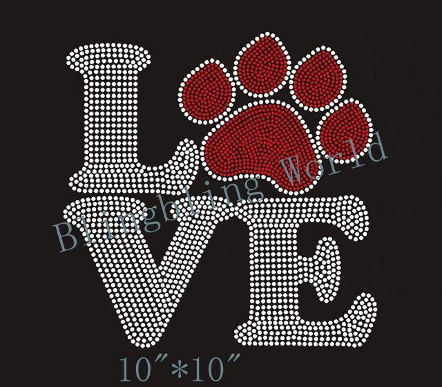 Free shipping Love Dog Puppy Paw Print Rhinestone Iron On Transfer Hot Fix  Bling 8bb1cfbe0b89
