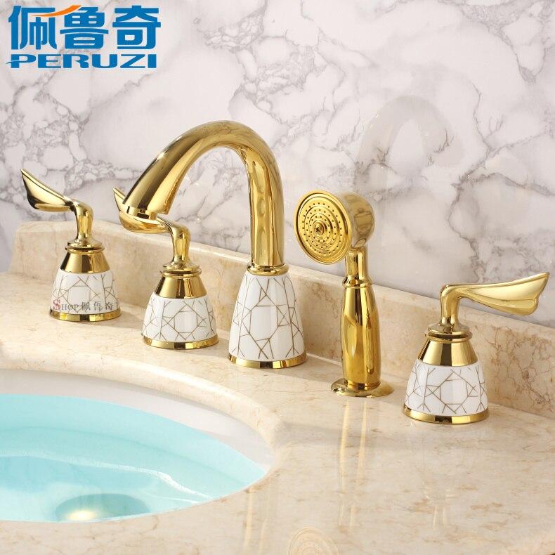 Split 5 hole, all copper, European style gold bath, side faucet, antique five sets, bath faucet, shower