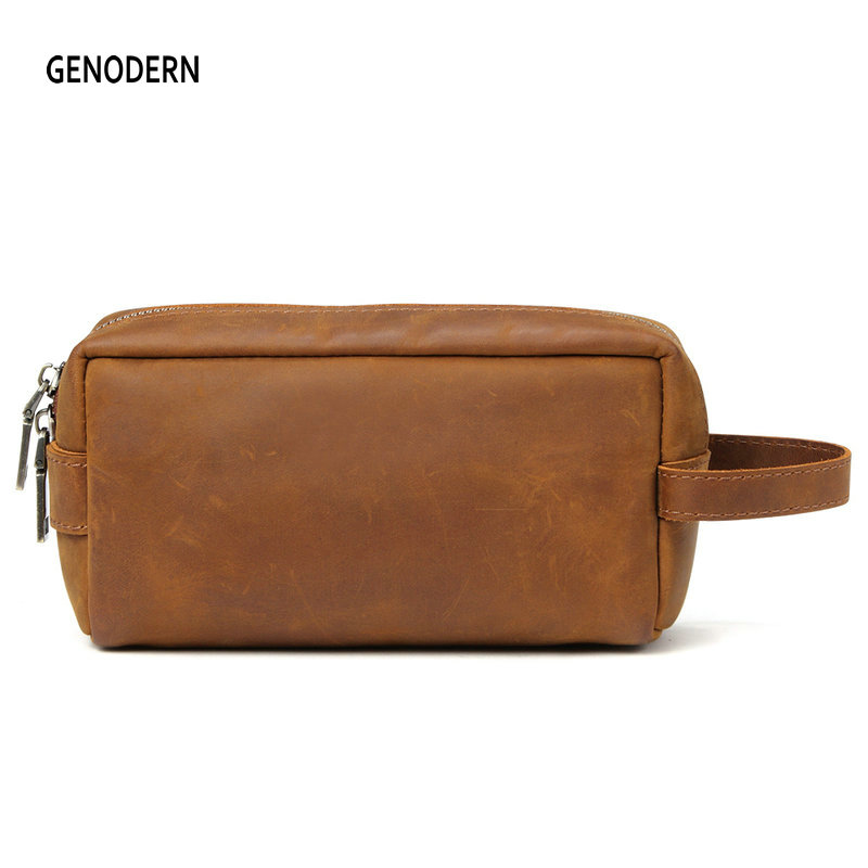 GENODERN Genuine Leather Travel Toiletry Bag Men Wash Bag Leather Travel Cosmetic Bags Man Toiletry Kits