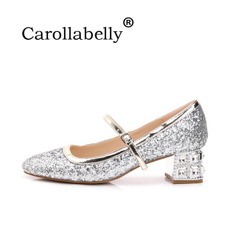 Or En Carré 2018 Femme Marque gold Cristal Glitter red Silver Mariage Talon Pompes Chaussures Femmes De Robe Vintage 4Y0nPqBxw0