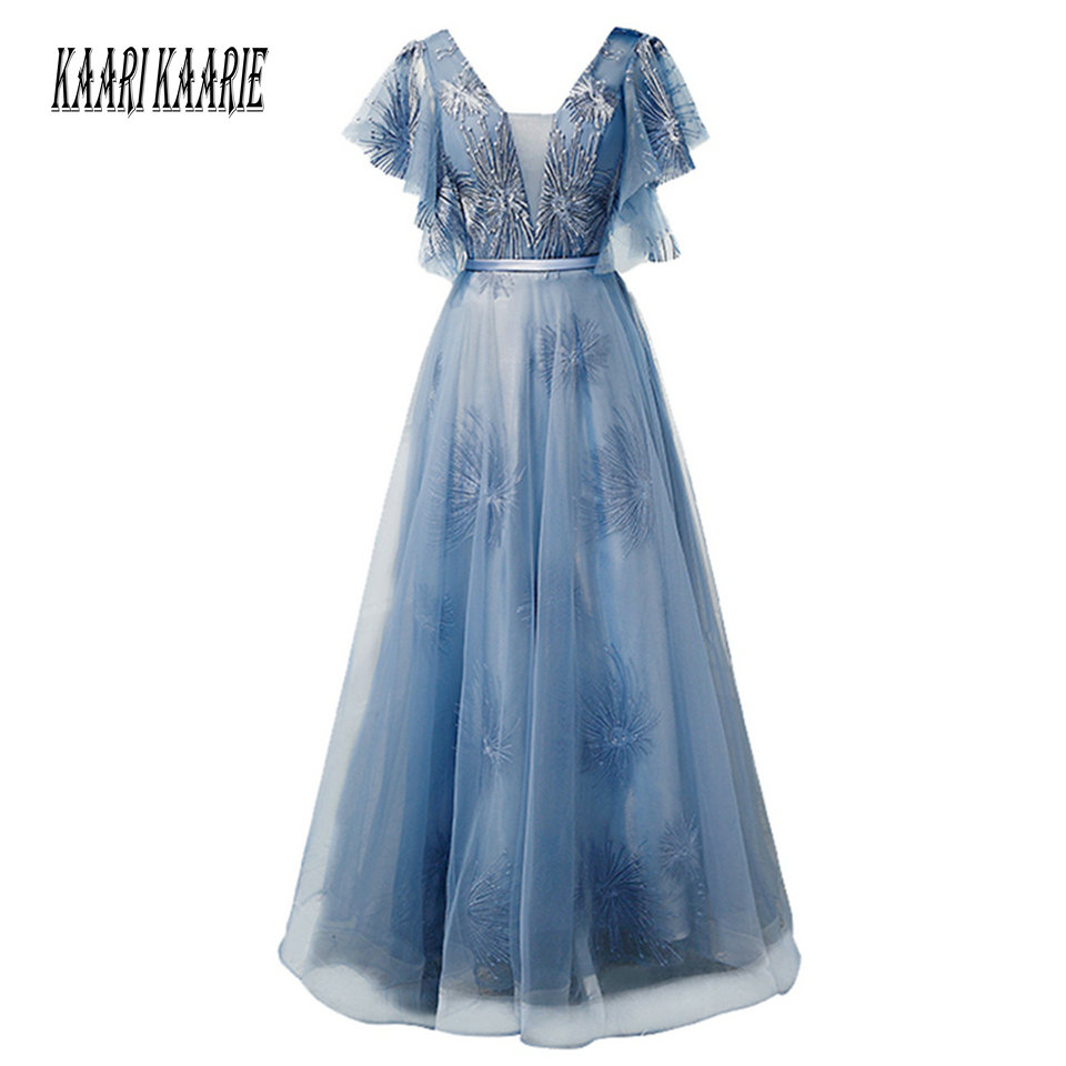 Fashion Bule Long   Evening   Gowns 2019   Evening     Dress   Women Party Plus Size Tulle Lace Up A-Line Floor Length Formal Prom   Dresses